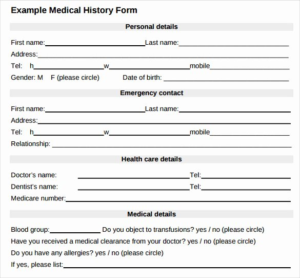 Sample forms In Word Elegant Medical History form 10 Download Free Documents In Pdf Word