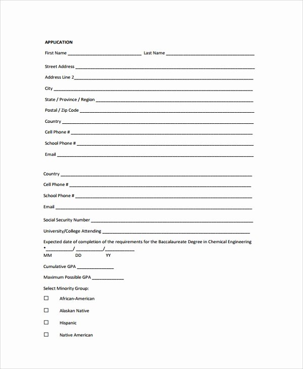 Sample forms In Word Unique Sample Scholarship Application form 7 Documents In Pdf