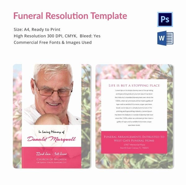 Sample Funeral Resolutions Templates Fresh Funeral Resolution Template 5 Word Psd format Download