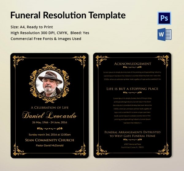 Sample Funeral Resolutions Templates Unique Funeral Resolution Template 5 Word Psd format Download