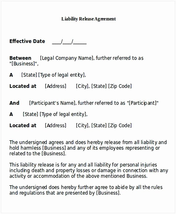 Sample General Release form Awesome General Release Of Liability form