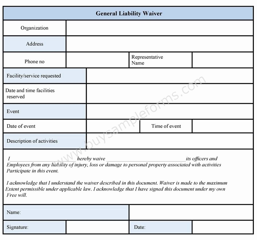 Sample General Release form Beautiful General Liability Waiver form Sample forms
