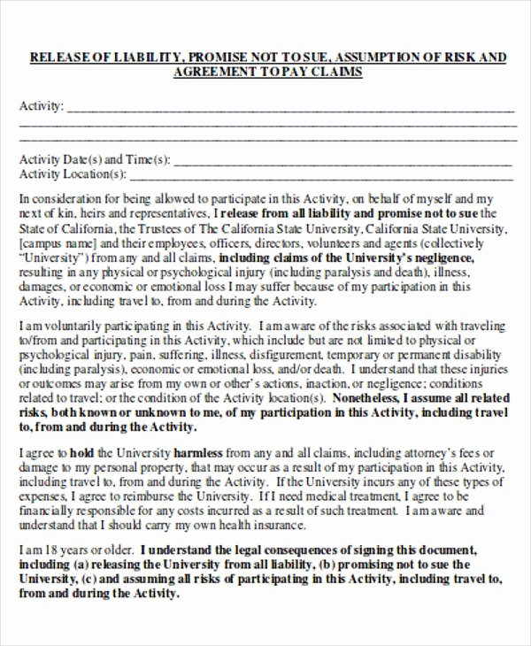 Sample General Release form Beautiful General Release Of Liability form Sample 7 Examples In
