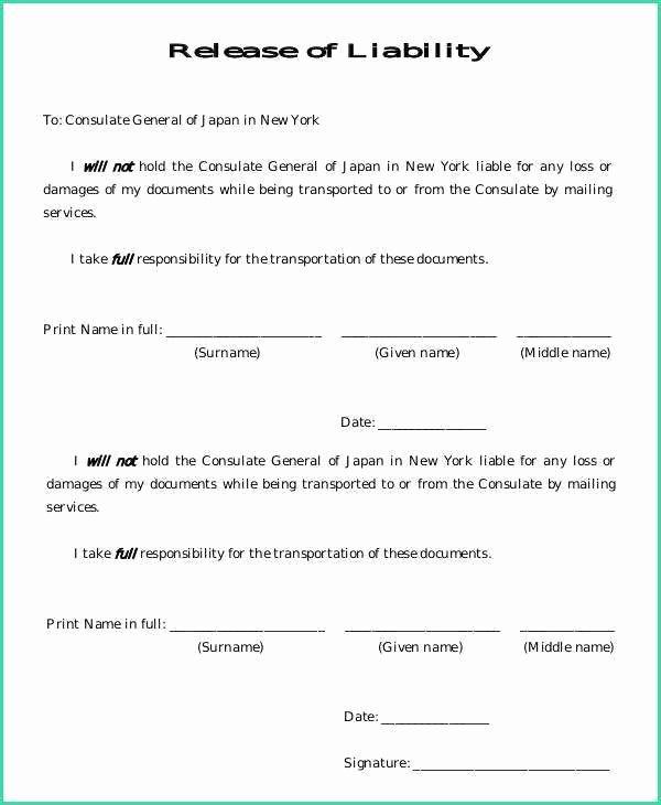 Sample General Release form Elegant General Liability Release form Image – General Liability