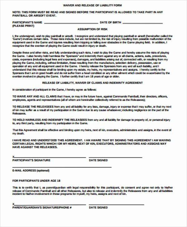 Sample General Release form Elegant Sample General Liability Release form 7 Examples In