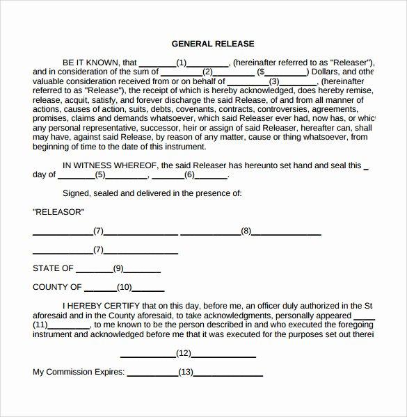 Sample General Release form Fresh General Release form 7 Free Samples Examples & formats