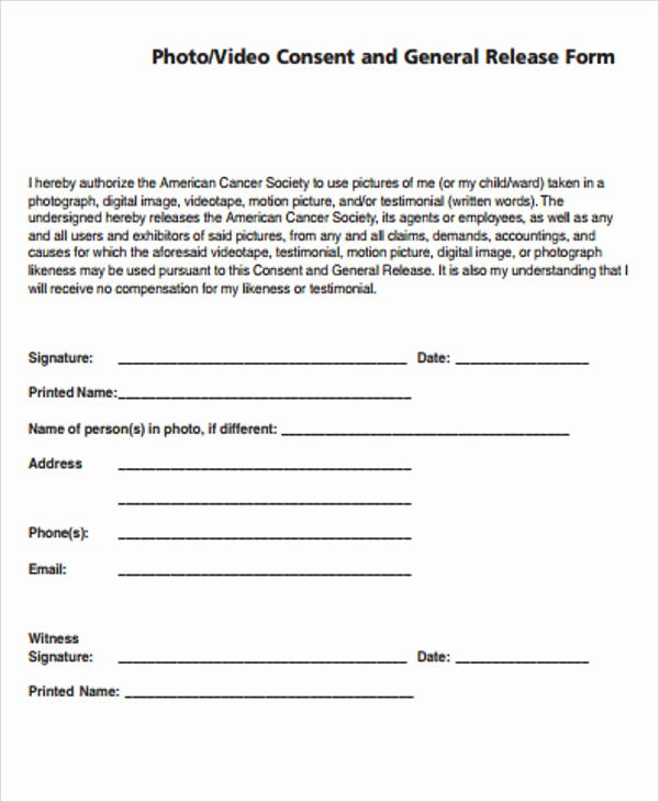 Sample General Release form Fresh General Release form Sample 8 Examples In Word Pdf