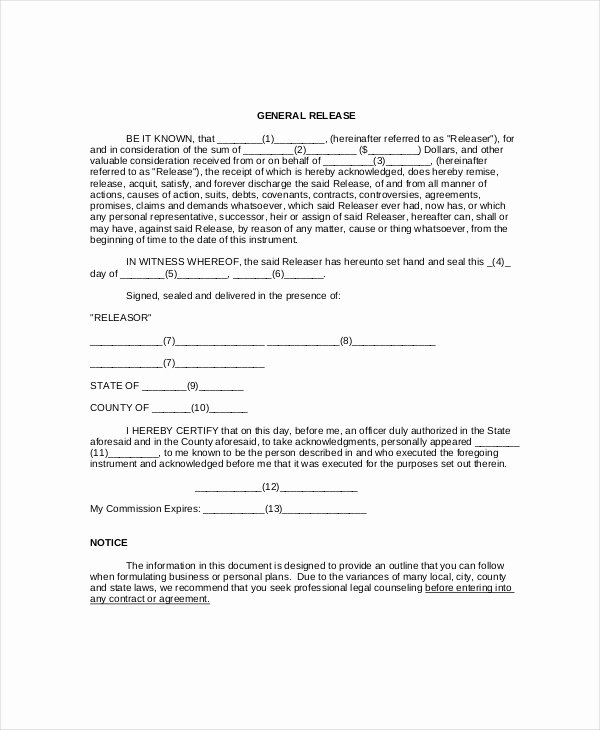 Sample General Release form Inspirational Free 11 Sample General Release forms In Pdf