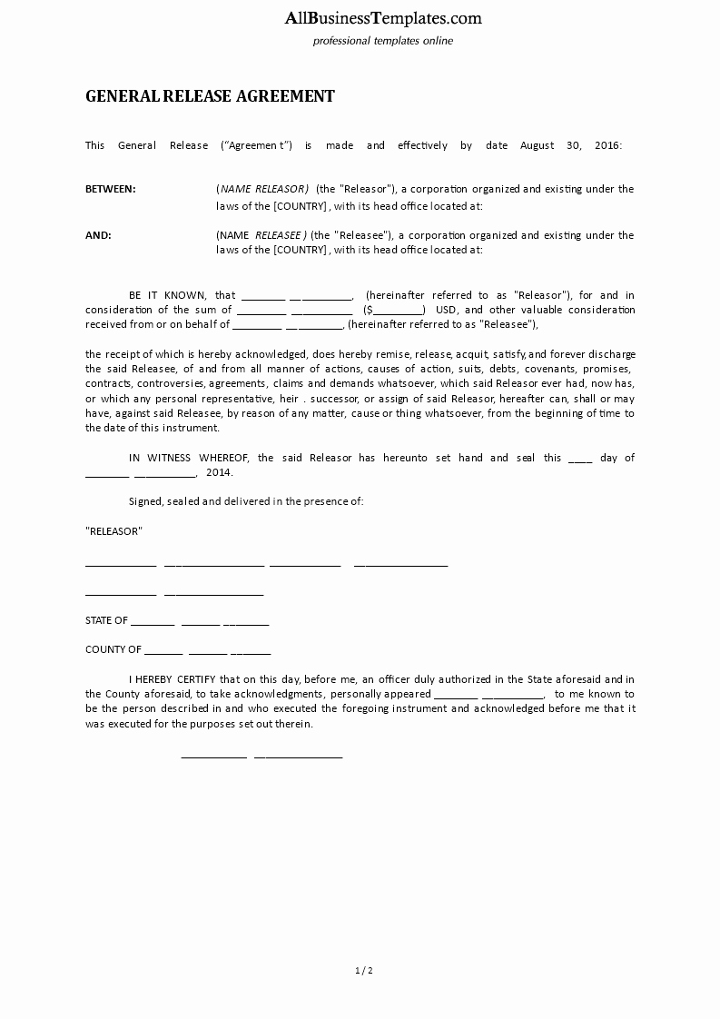 Sample General Release form Inspirational General Release form