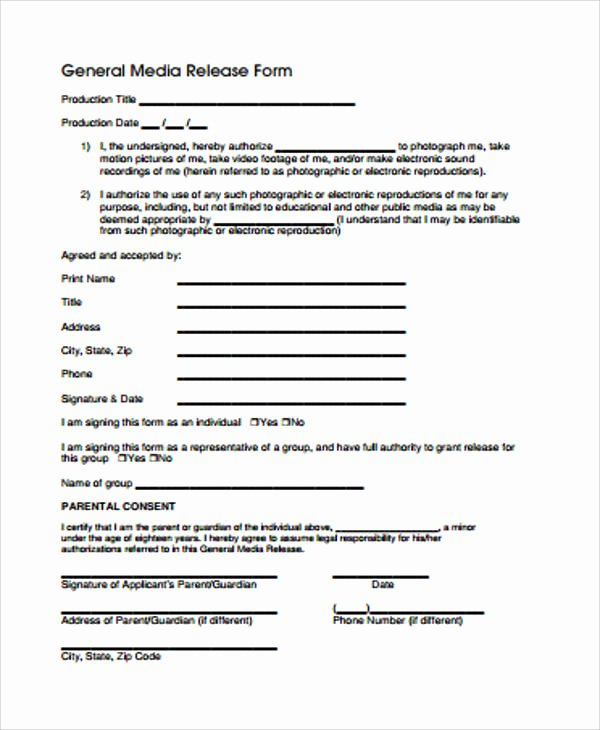 Sample General Release form Inspirational General Release form Sample 8 Examples In Word Pdf