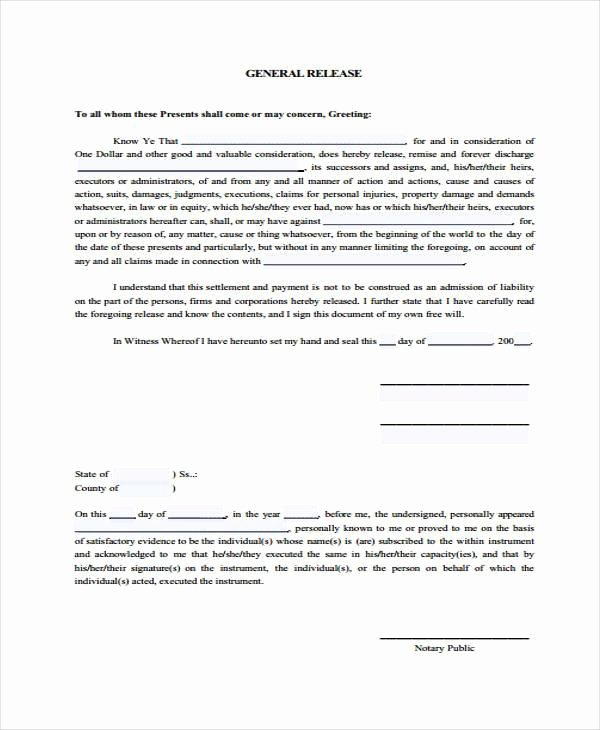 Sample General Release form New Free 39 Sample Release forms