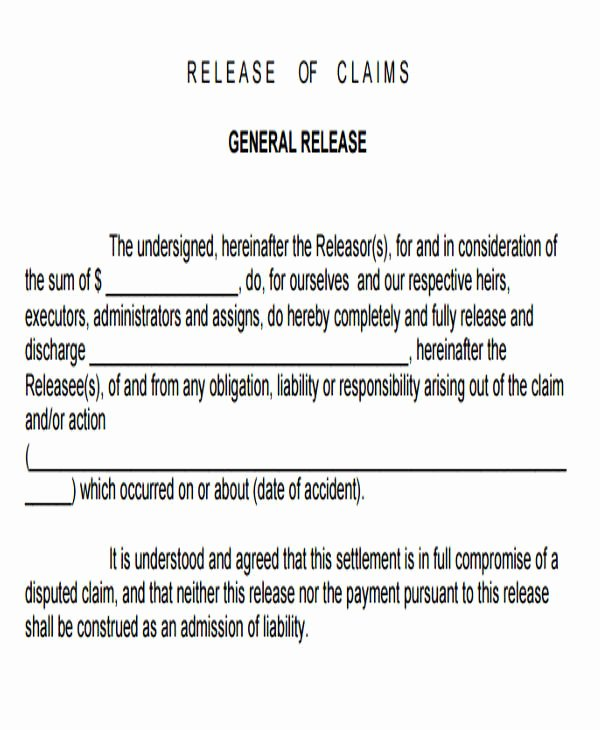 Sample General Release form Unique Sample General Liability Release form 7 Examples In