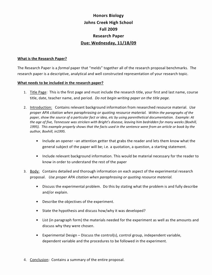 Sample High School Research Paper Unique H Bio Research Proposal