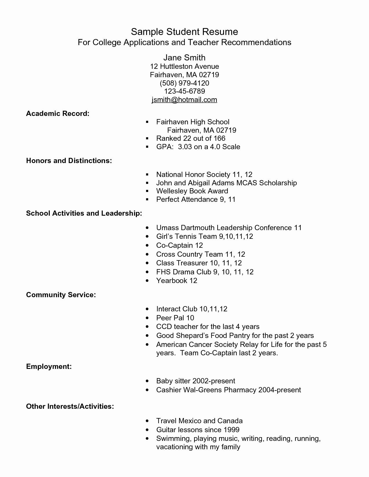 Sample High School Student Resume Fresh Example Resume for High School Students for College