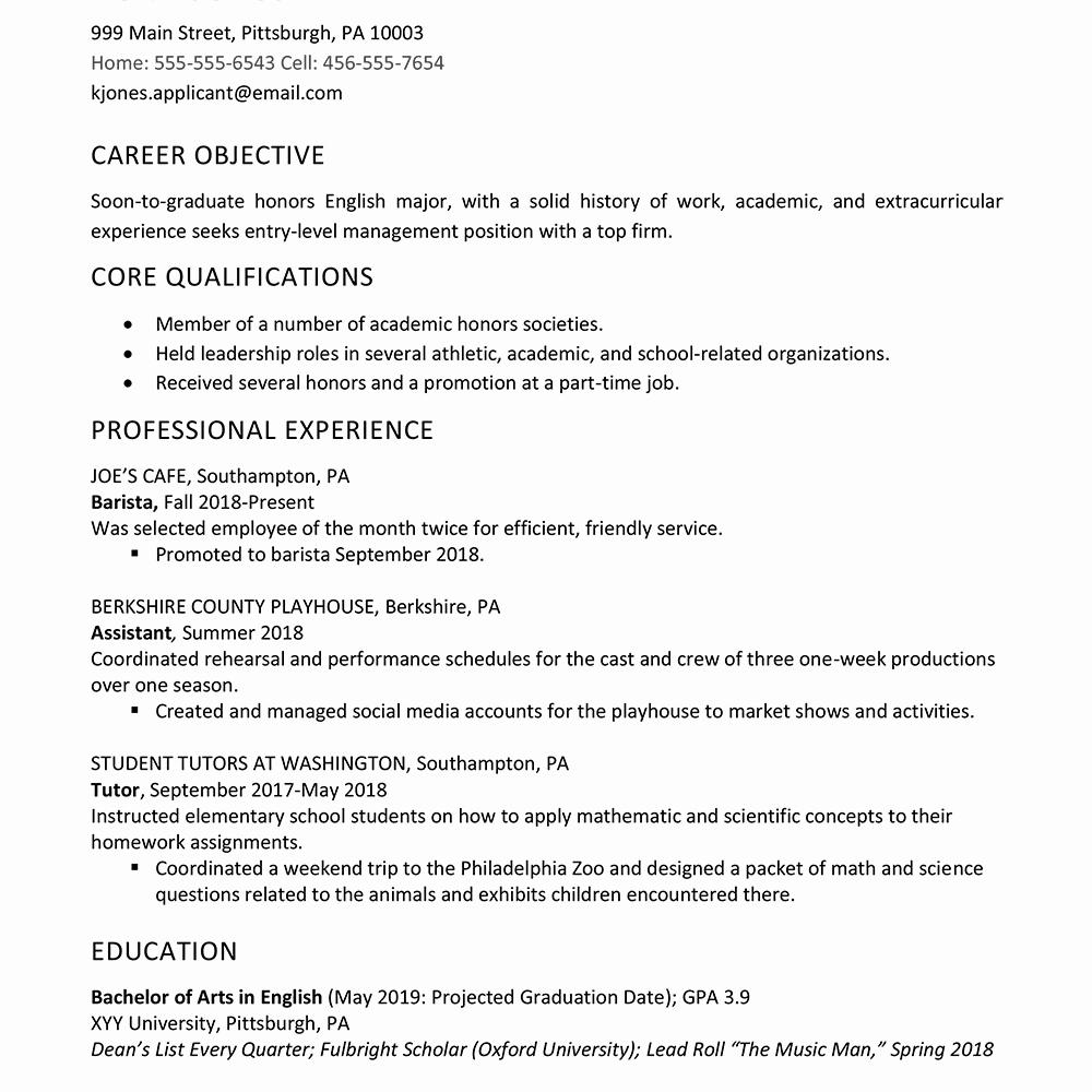 Sample High School Student Resume Unique High School Graduate Resume Example Work Experience