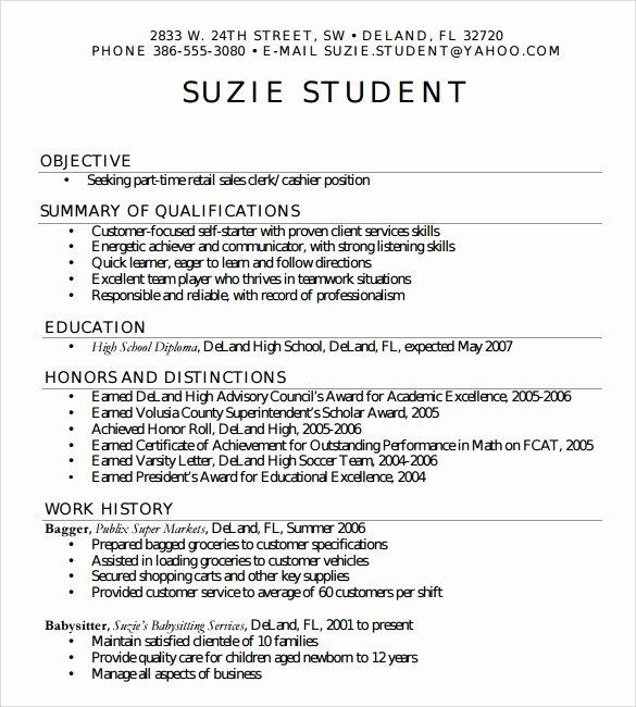 Sample High School Student Resume Unique Sample High School Resume Template 6 Free Documents In