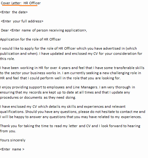 Sample Hr Cover Letter Best Of Hr Ficer Cover Letter Example Icover