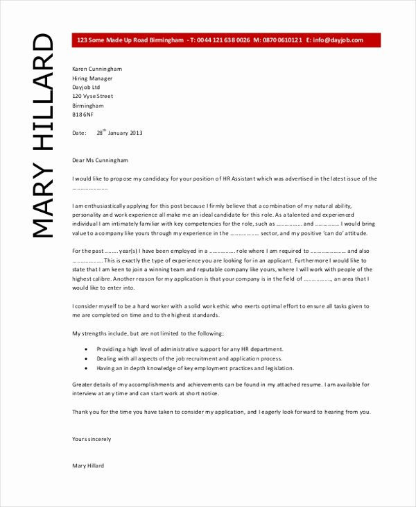 Sample Hr Cover Letter Fresh Free 8 Sample Hr Letter forms In Pdf