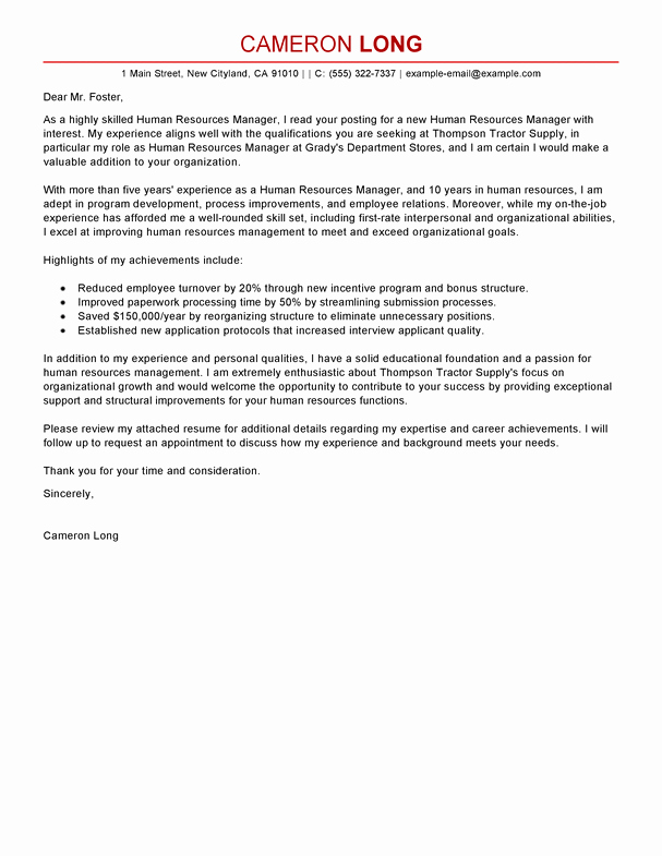Sample Hr Cover Letter Inspirational Best Human Resources Manager Cover Letter Examples