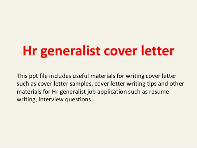 Sample Hr Cover Letter Inspirational Hr Generalist Cover Letter