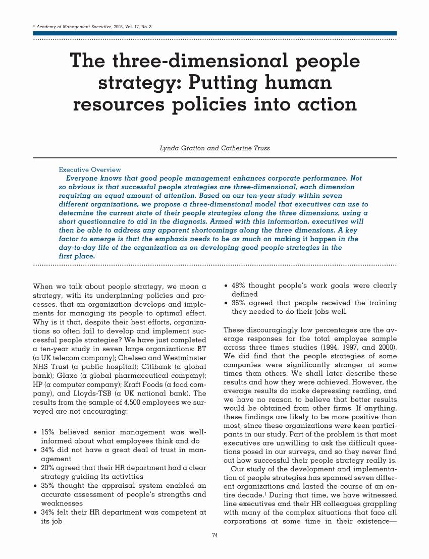 Sample Human Resource Policies Beautiful Pdf the Three Dimensional People Strategy Putting Human