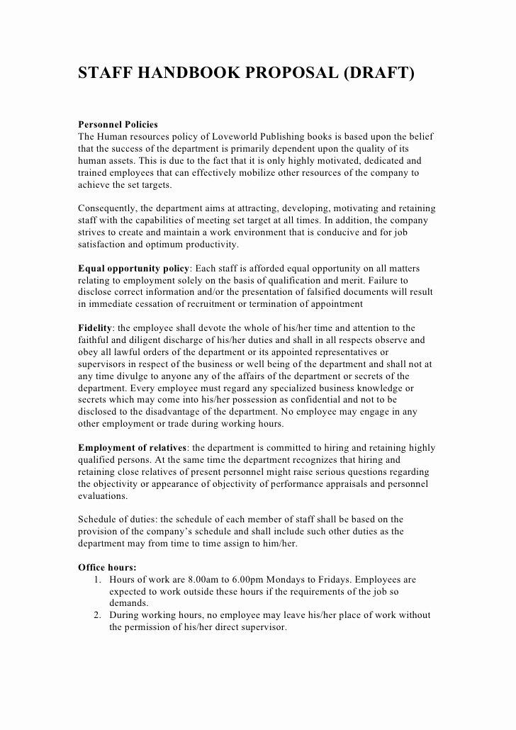 Sample Human Resource Policies Luxury Staff Handbook Proposal