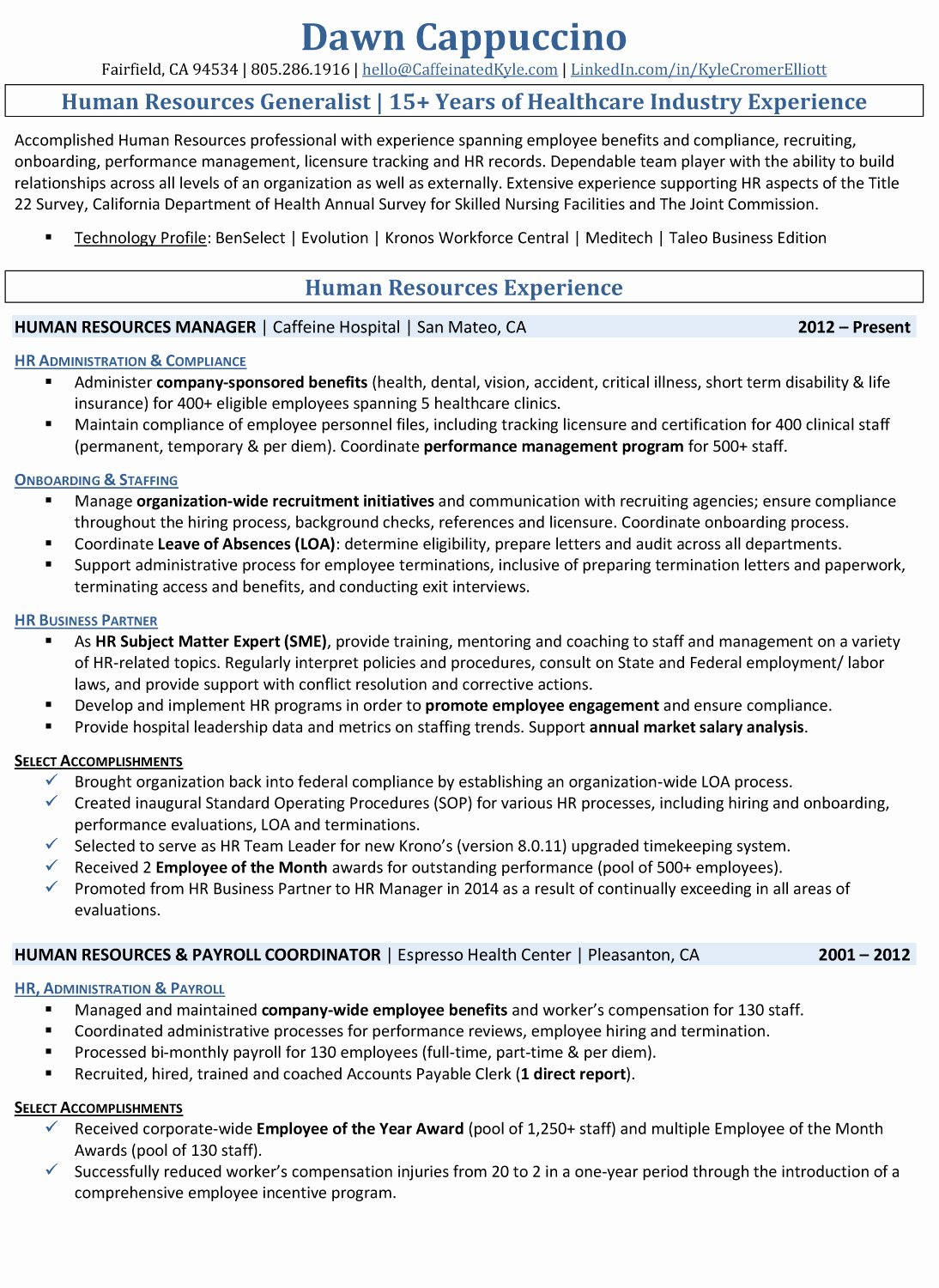 Sample Human Resource Policy Elegant Resume Samples