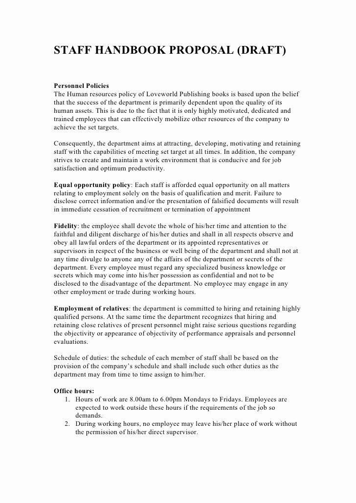 Sample Human Resource Policy Elegant Staff Handbook Proposal