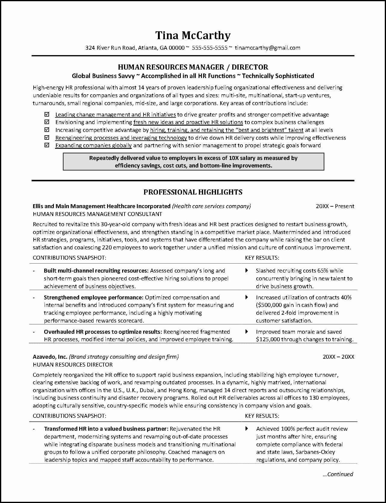 Sample Human Resource Policy Lovely Powerful Human Resources Resume Example