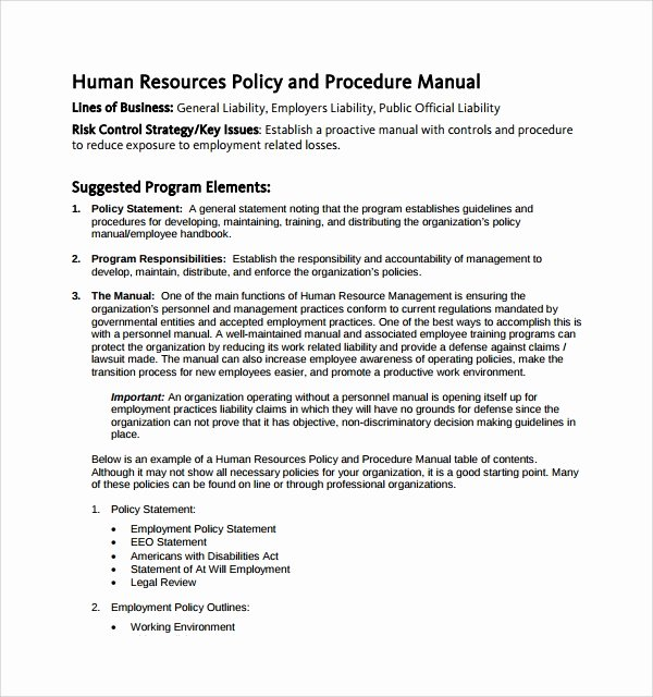 Sample Human Resource Policy Lovely Sample Hr Manual Template 6 Free Documents In Pdf