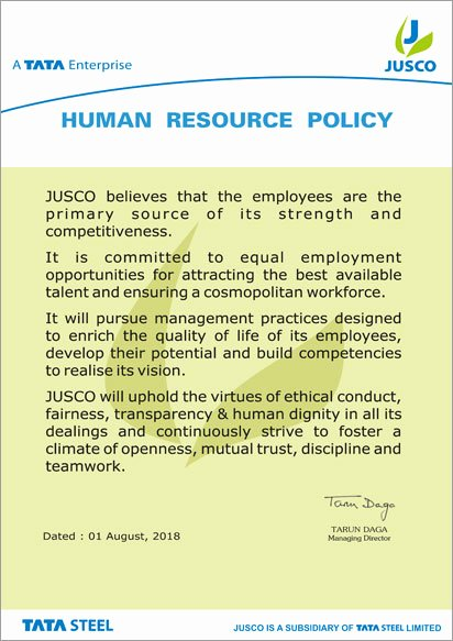Sample Human Resource Policy Luxury Human Resource Policy Jusco Utilities Service & Supply