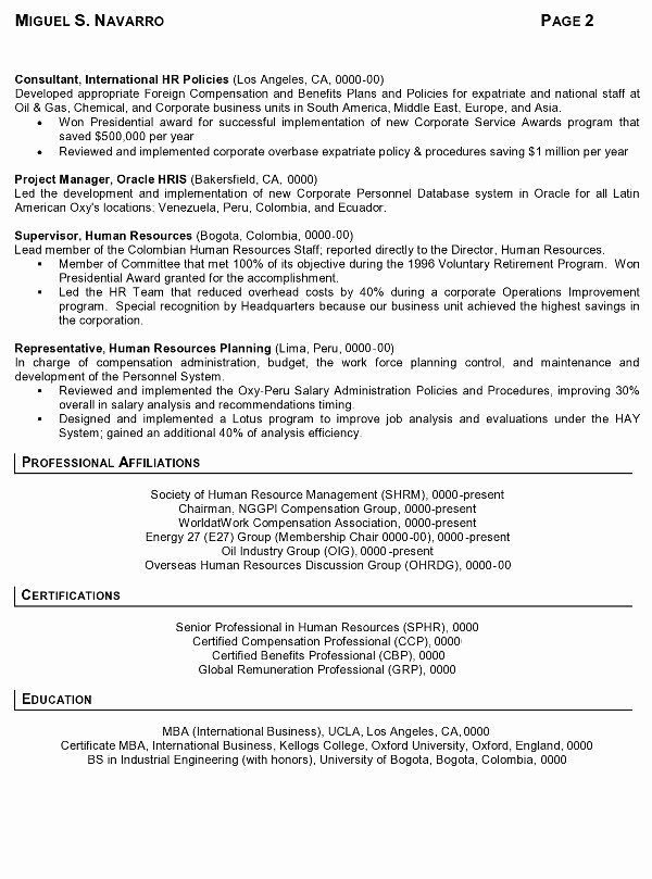 Sample Human Resource Policy Unique Resume Sample 11 International Human Resource Executive