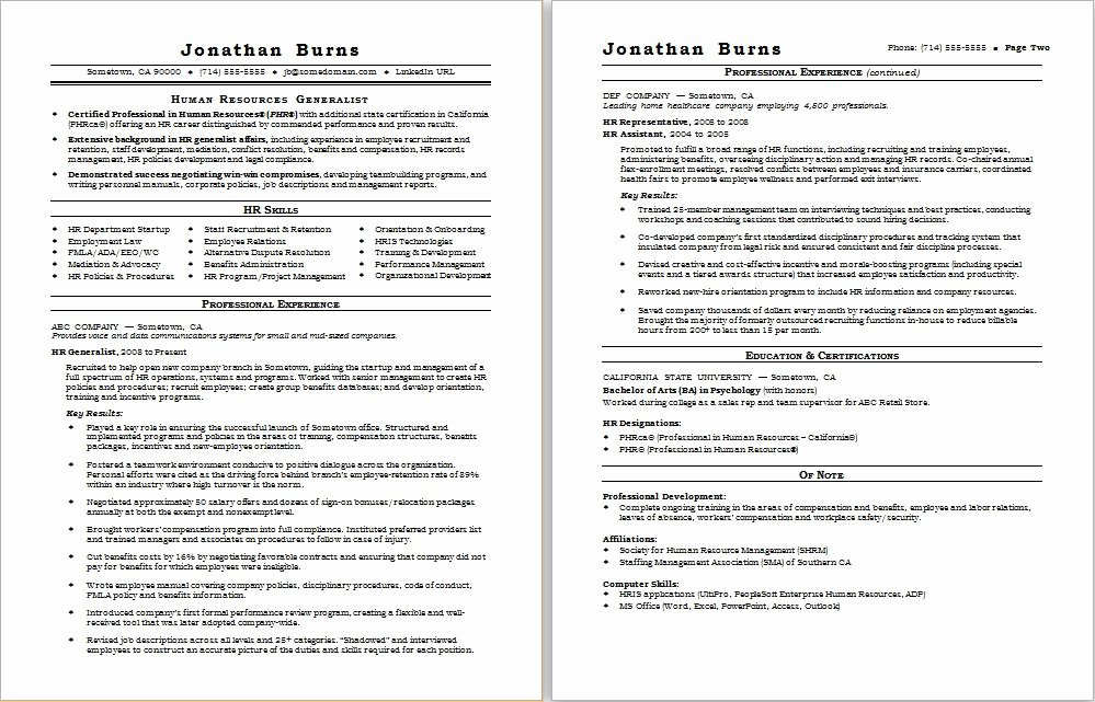 Sample Human Resources Policy Best Of Hr Generalist Resume Sample