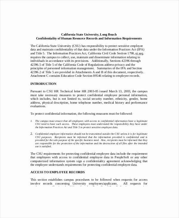 Sample Human Resources Policy Lovely Hr Confidentiality Agreement – Cnbam