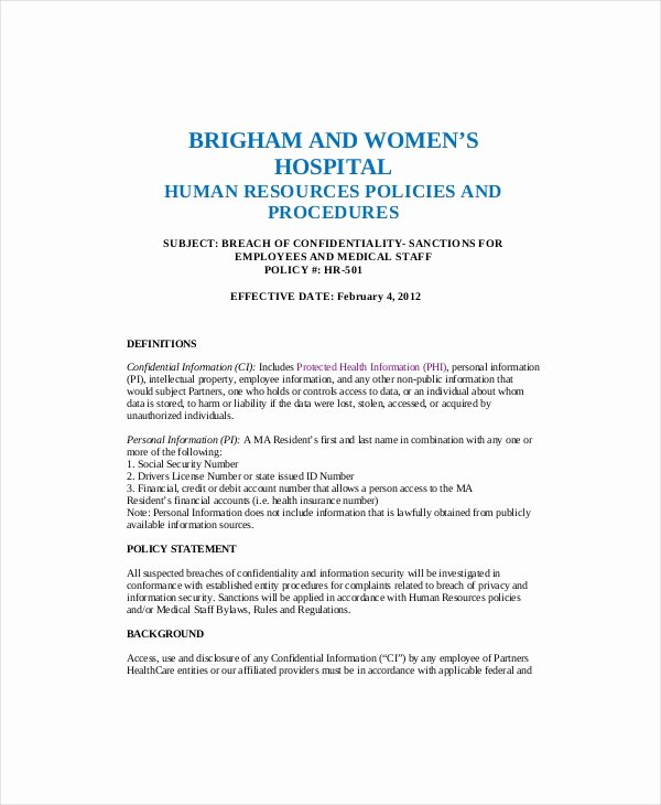 Sample Human Resources Policy Unique 10 Human Resources Confidentiality Agreement Templates
