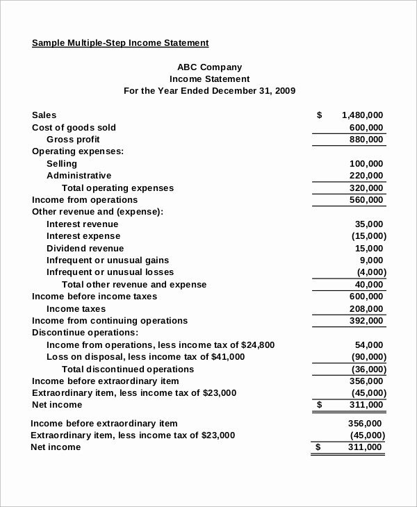 Sample Income Statement format Elegant Sample In E Statement 11 Examples In Excel Pdf