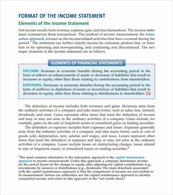 Sample Income Statement format Unique 10 In E Statement formats Free Word Pdf format