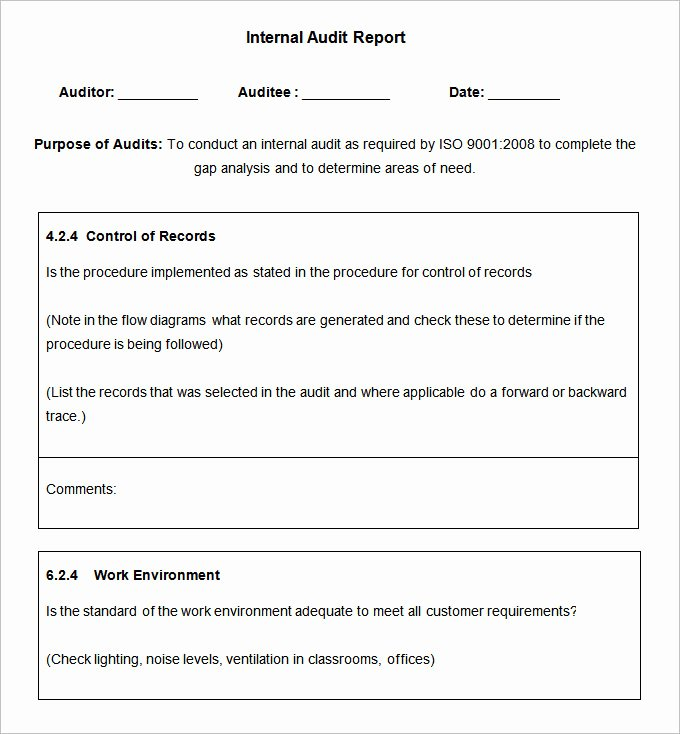 Sample Internal Audit Report Awesome 19 Internal Audit Report Templates Free Sample Example