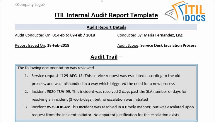 Sample Internal Audit Report Beautiful Internal Audit Report Template – Itil Docs