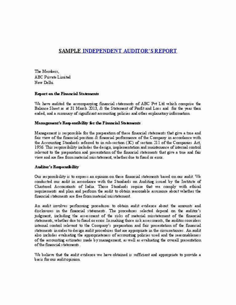 Sample Internal Audit Report Best Of Sample Independent Auditors Report