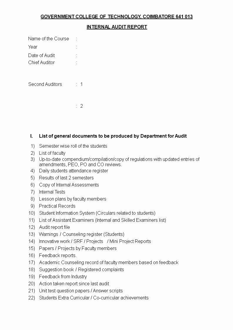 Sample Internal Audit Report Elegant Internal Audit Report Template