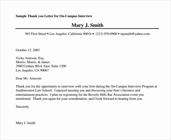 Sample Interview Thank You Note Best Of Sample Thank You Letter after Second Interview Download
