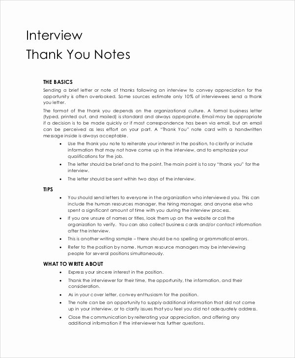 Sample Interview Thank You Note Inspirational Sample Thank You Note 9 Examples In Word Pdf