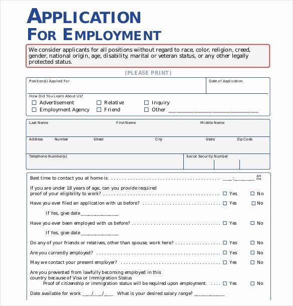 Sample Job Applications Elegant 15 Employment Application Templates – Free Sample