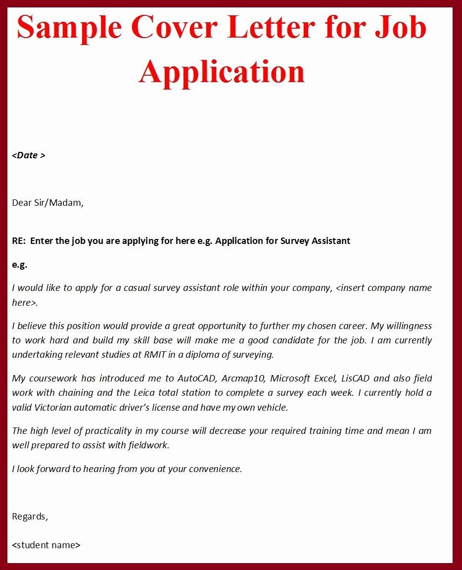 Sample Job Applications Luxury Sample Cover Letter format for Job Application