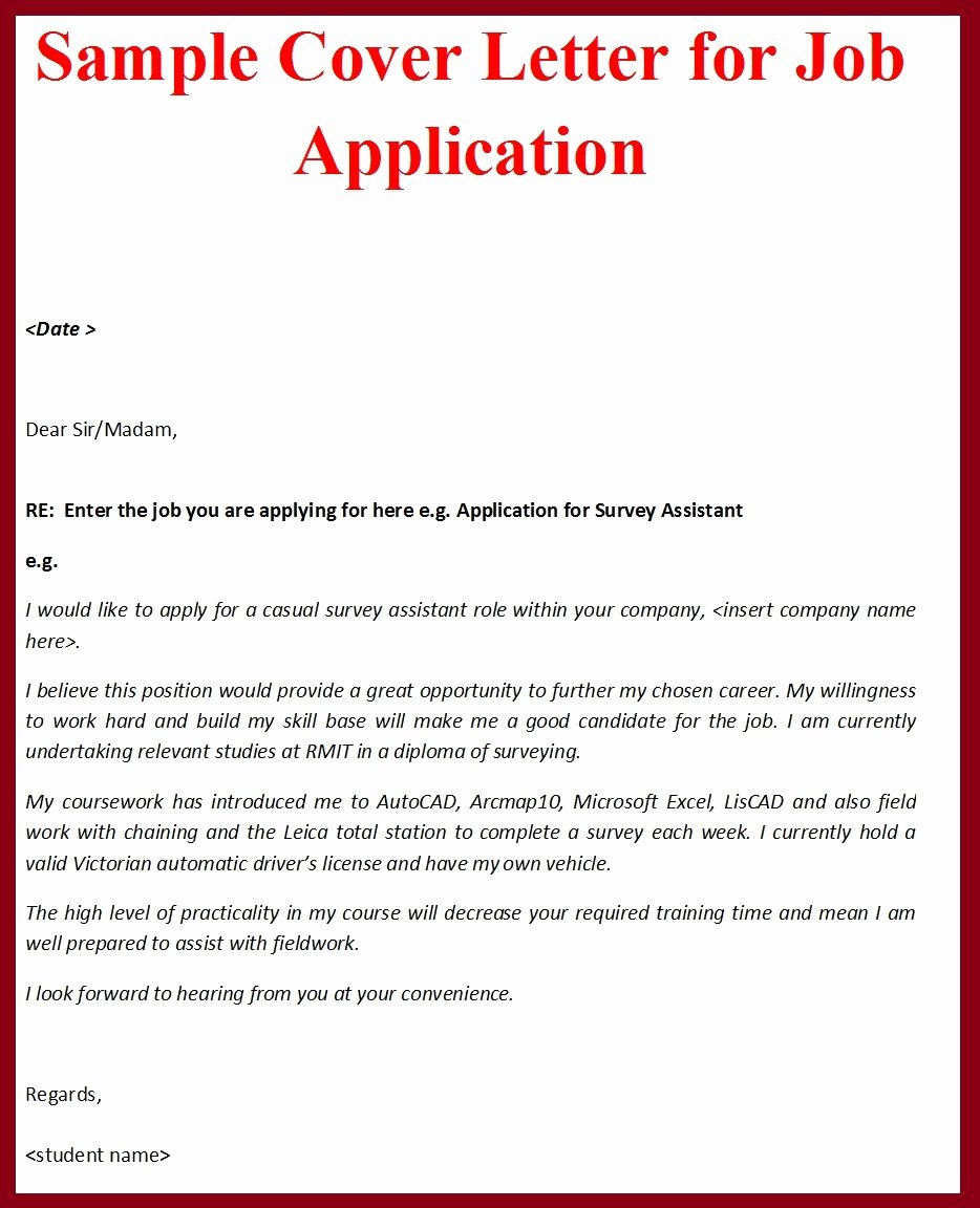 Sample Job Cover Letter Elegant Sample Cover Letter format for Job Application