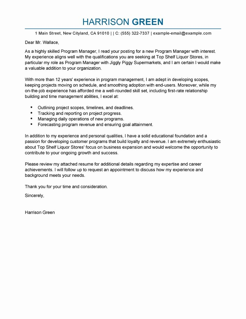 Sample Job Cover Letter Inspirational Best Management Cover Letter Examples