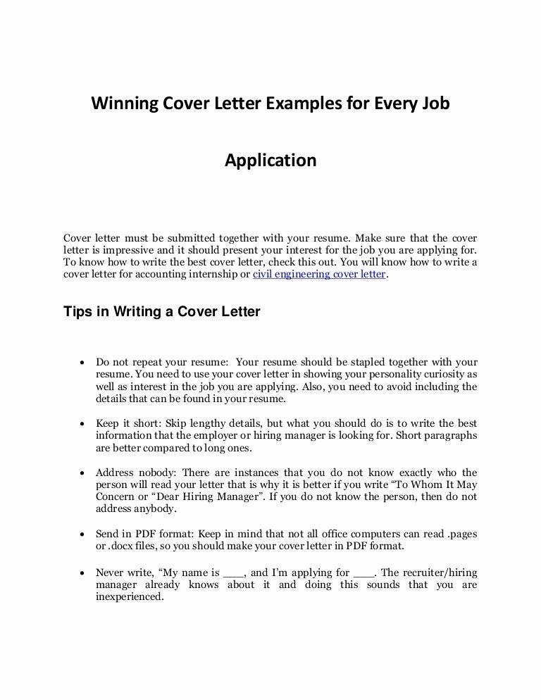 Sample Job Cover Letter Luxury Every Job Application's Sample Cover Letter that Works