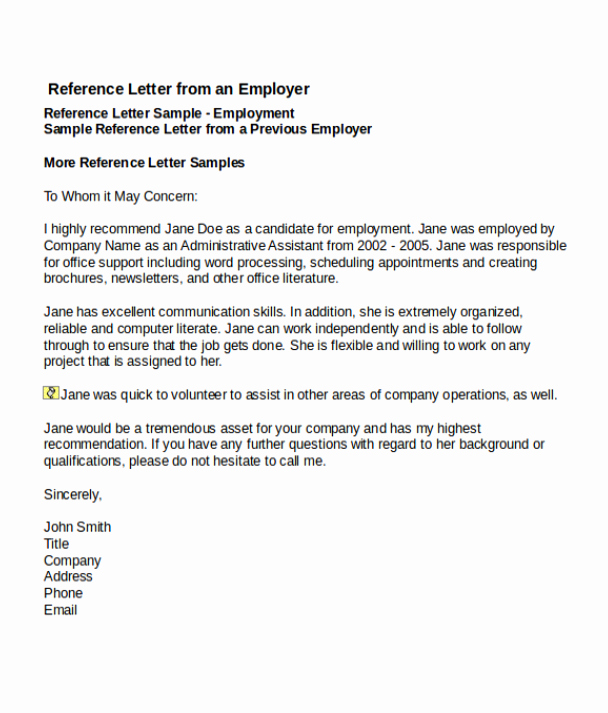 Sample Job Reference Letters Awesome 4 Job Reference Letter Templates