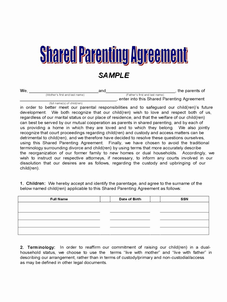 Sample Joint Custody Agreements Beautiful Child Visitation Agreement Letter Excellent Joint Custody